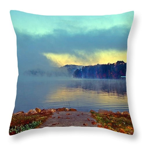 Landscape Throw Pillow featuring the photograph Into The Fog by Susan Leggett