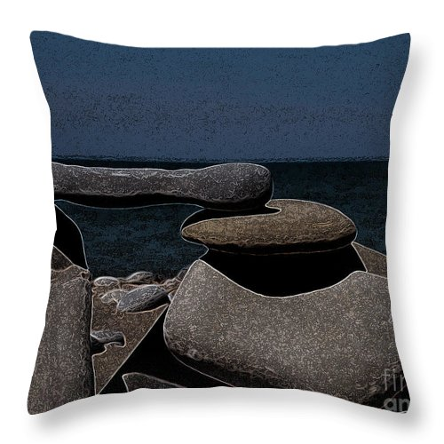 Inukshuk Throw Pillow featuring the photograph Inuksuit Night by First Star Art