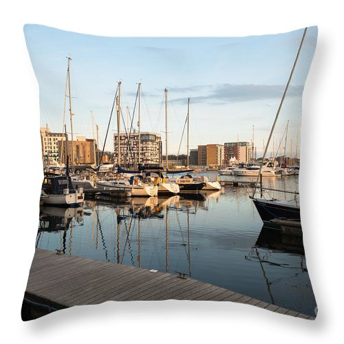 Sunset Throw Pillow featuring the photograph Ipswich Marina Sunset by Andrew Michael