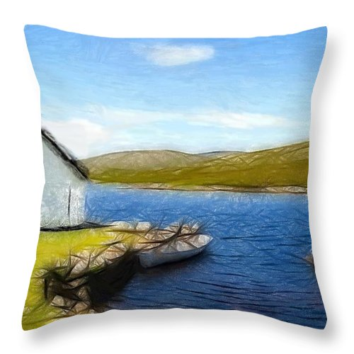 Oil Pastel Ireland Beauty Country Countryside Painting Landscape Cottage Old House Lake Boat Romance Water Green Grass Mountain Expressionism Impressionism Throw Pillow featuring the pastel Irelands Beauty by Steve K