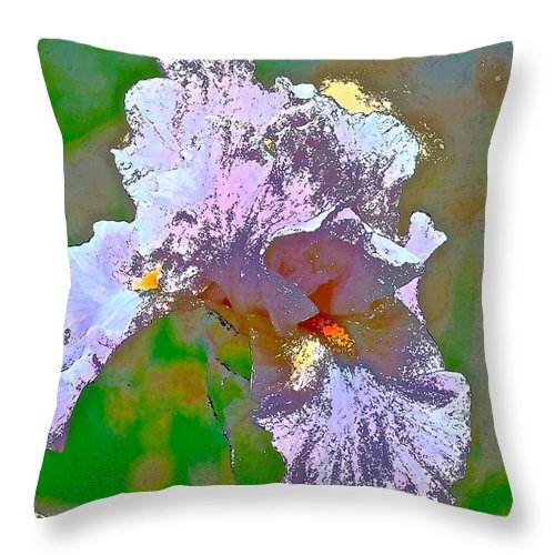 Floral Throw Pillow featuring the photograph Iris 45 by Pamela Cooper
