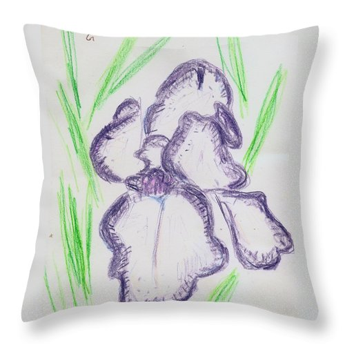 Iris Throw Pillow featuring the drawing Iris Outlined by Carolyn Donnell