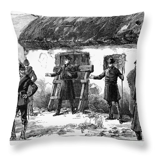 1887 Throw Pillow featuring the photograph Irish Land League, 1887 by Granger
