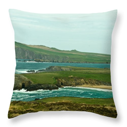 Throw Pillow featuring the photograph Irish Sea Coast 4 by Douglas Barnett