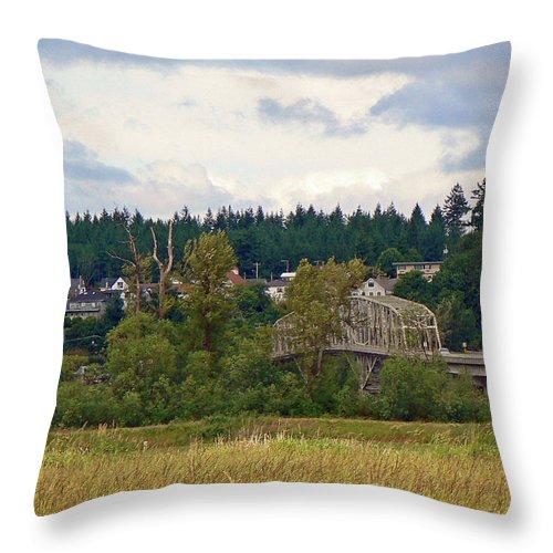Bridge Throw Pillow featuring the photograph Island Bridge by Pamela Patch