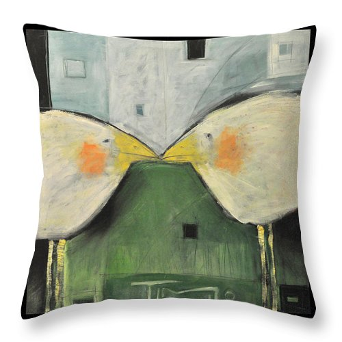 Birds Throw Pillow featuring the painting It Takes Two - Beak To Beak by Tim Nyberg