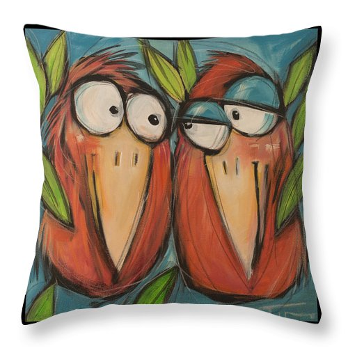 Birds Throw Pillow featuring the painting It Takes Two To Be Glad Poster by Tim Nyberg