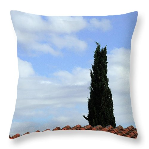 Cypress Throw Pillow featuring the photograph Italian Cyress And Red Tile Roof Rome Italy by Mike Nellums