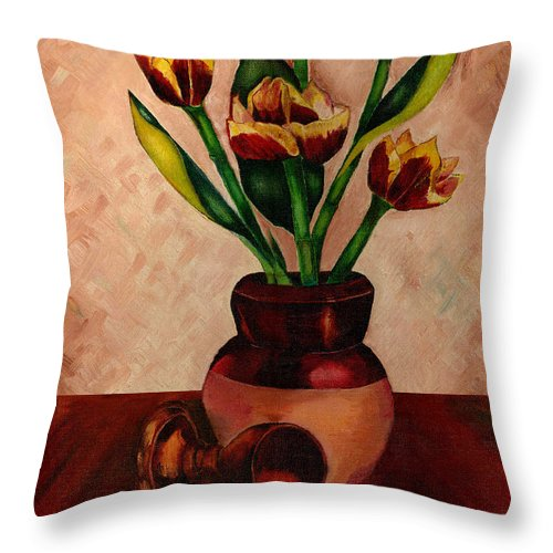 Tulips Throw Pillow featuring the painting Italian Tulips by Kathy-Lou