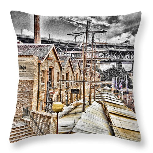 Italian Village Throw Pillow featuring the photograph Italian Village-sydney Harbor Bridge by Douglas Barnard