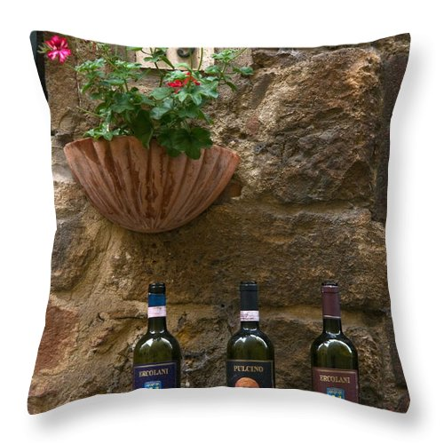 3 Bottles Throw Pillow featuring the photograph Italian Wine And Flowers by Sally Weigand