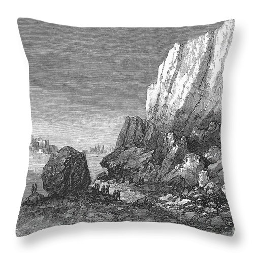 1856 Throw Pillow featuring the photograph Italy: Earthquake, 1856 by Granger