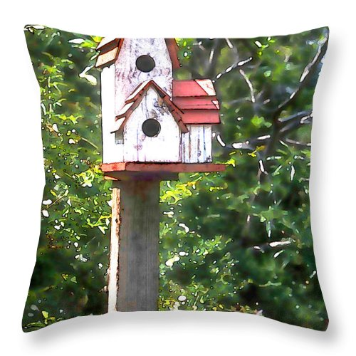 Throw Pillow featuring the painting It's For The Birds by Elaine Plesser
