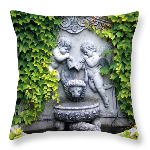 Ivy Throw Pillow featuring the photograph Ivy Cherubs by Mike Nellums