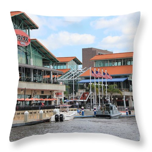 Jacksonville Throw Pillow featuring the photograph Jacksonville Florida Landing by Rod Andress