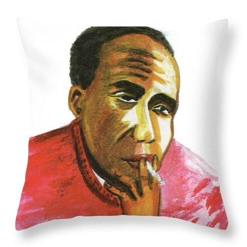 Portraits Throw Pillow featuring the painting Jacques Roumain by Emmanuel Baliyanga