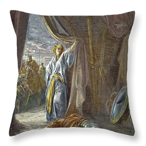 Dore Throw Pillow featuring the photograph Jael Smites Sisera by Granger