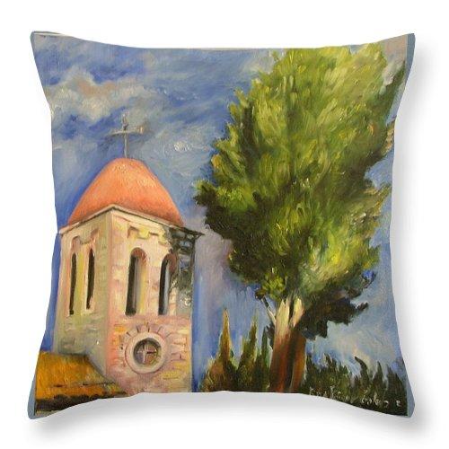 Painting Throw Pillow featuring the painting Tel Aviv Jaffa by Rita Fetisov