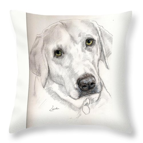 Dog Sketch Throw Pillow featuring the painting Jalen by Janet Lavida