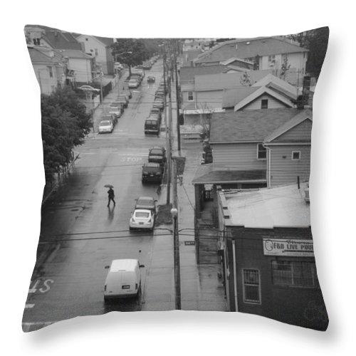 Black & White Throw Pillow featuring the photograph Jamaica Queens by Steve Gravano