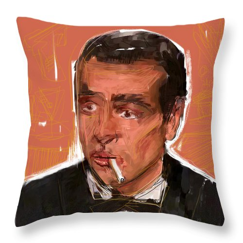James Bond Throw Pillow featuring the mixed media James Bond by Russell Pierce