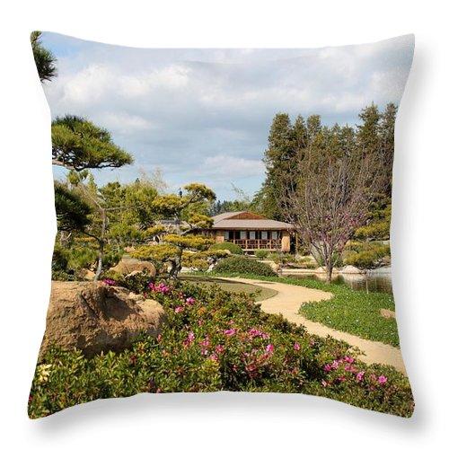 Japanese Garden Throw Pillow featuring the photograph Japanese Garden by Caroline Lomeli