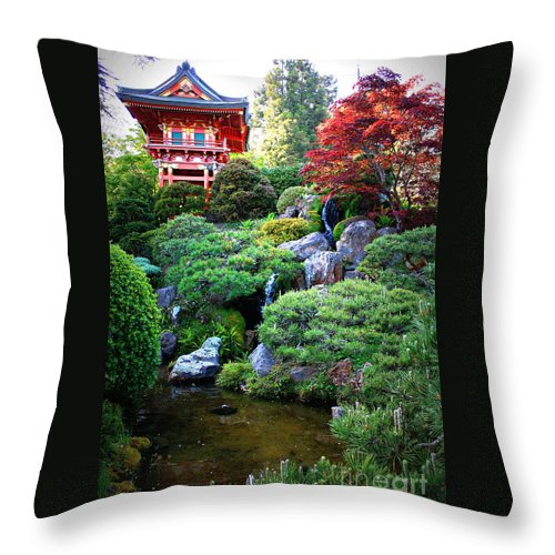 Japanese Garden Throw Pillow featuring the photograph Japanese Garden With Pagoda And Pond by Carol Groenen