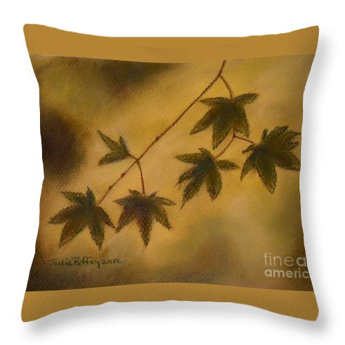 Japanese Maple Throw Pillow featuring the pastel Japanese Maple Leaves by Julie Brugh Riffey
