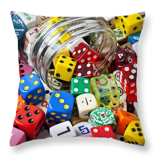 Jar Dice Games Play Numbers Gamble Throw Pillow featuring the photograph Jar Spilling Dice by Garry Gay