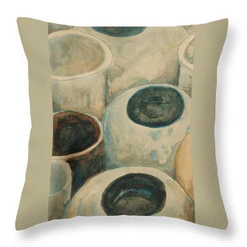 Ceramic Jars Throw Pillow featuring the painting Jars by Diane montana Jansson