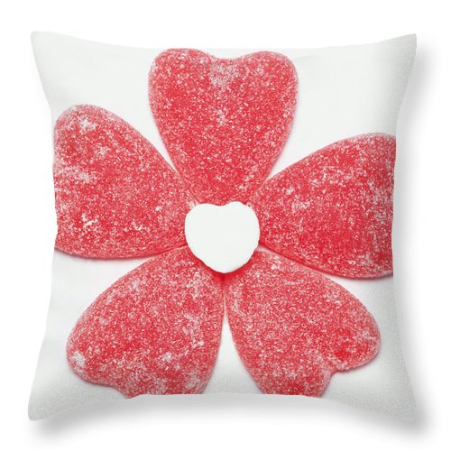 Sweet Throw Pillow featuring the photograph Jelly Candy Heart Flower 1 by John Brueske
