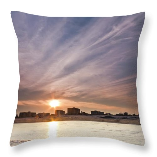 Jersey Shore Throw Pillow featuring the photograph Jersey Shore Wildwood Crest Sunset by Dustin K Ryan