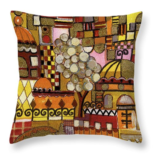 Jerusalem Throw Pillow featuring the painting Jerusalem Alleys Tall 5 In Red Yellow Brown Orange Green And White Abstract Skyline Landscape  by Rachel Hershkovitz