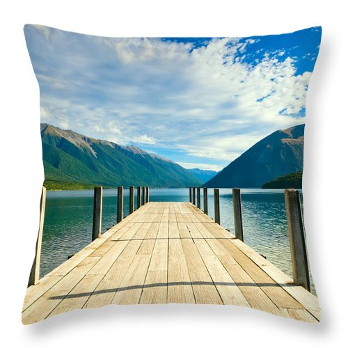 Amazing Throw Pillow featuring the photograph Jetty Of A Beautiful Lake by U Schade