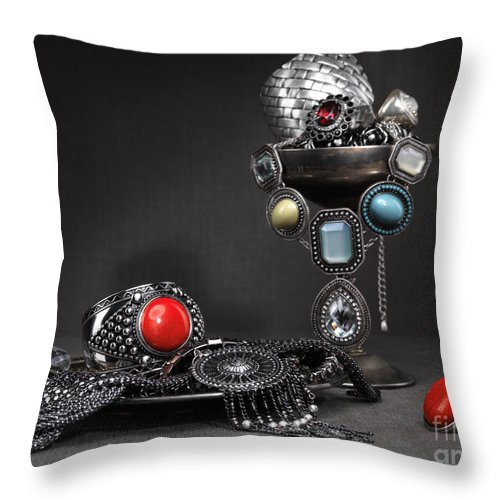 Jewellery Throw Pillow featuring the photograph Jewellery Still Life by Oleksiy Maksymenko