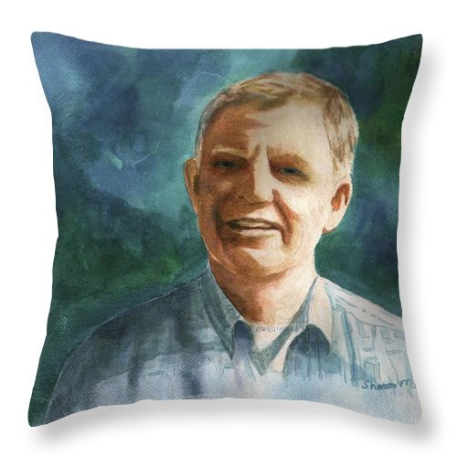 Male Portrait Throw Pillow featuring the painting Jim by Sharon Mick