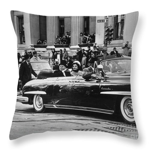 1961 Throw Pillow featuring the photograph John F. Kennedy (1917-1963) by Granger