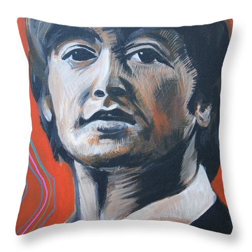Beatles Throw Pillow featuring the painting John Lennon by Kate Fortin