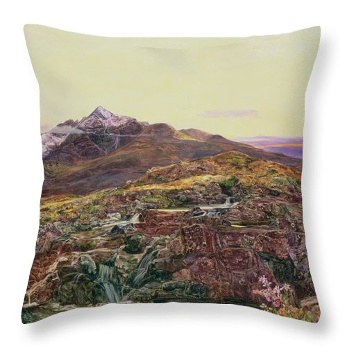Cuillin Ridge Throw Pillow featuring the painting John William Inchbold by Skye from Sligechan