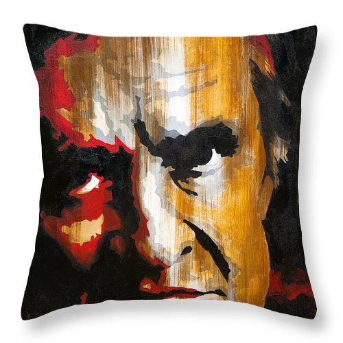 Johnny Cash Throw Pillow featuring the painting Johnny Cash by Brad Jensen