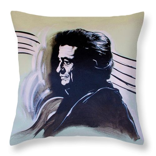 Johnny Cash Throw Pillow featuring the photograph Johnny Cash by Rob Hans