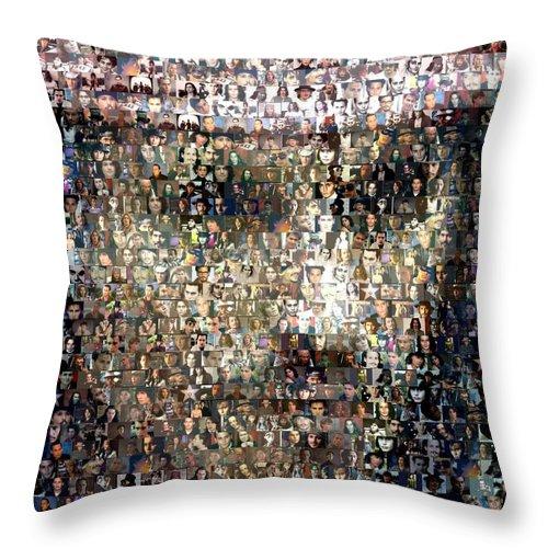 Depp Throw Pillow featuring the digital art Johnny Depp Jack Sparrow Mosaic by Paul Van Scott