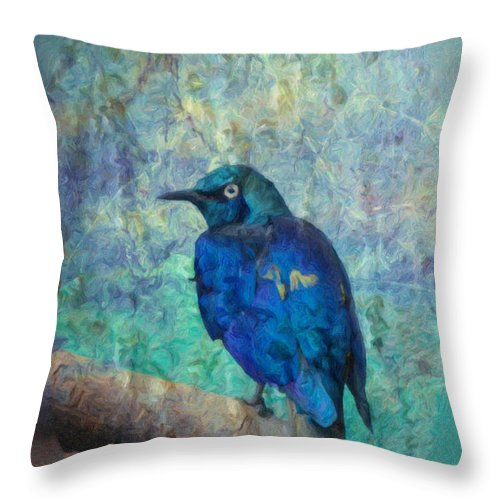 Bird Throw Pillow featuring the photograph Josh's Blue Bird by Trish Tritz