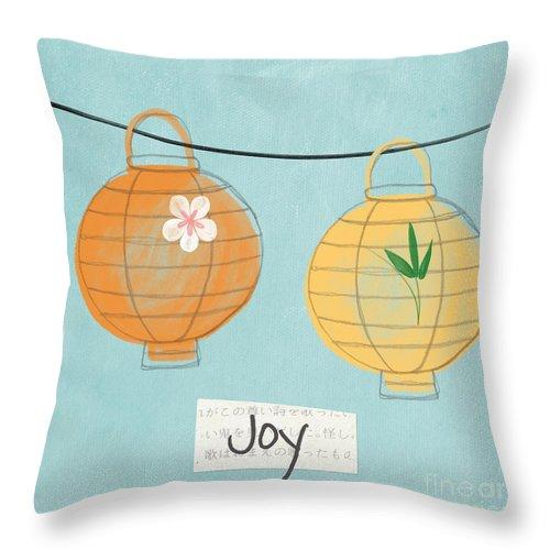 Joy Throw Pillow featuring the painting Joy Lanterns by Linda Woods