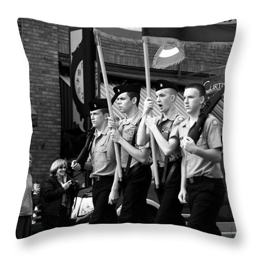 Parade Throw Pillow featuring the photograph Jrotc Carrying Flag In The Parade by Gray Artus