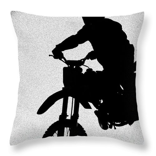 Motorcycle Throw Pillow featuring the photograph Jumping High by Carolyn Marshall