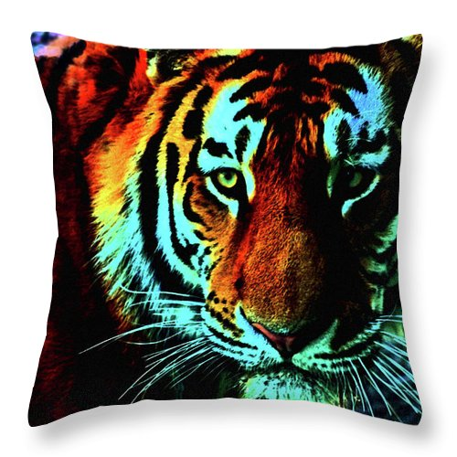 Tiger Throw Pillow featuring the photograph Jungle Cat by La Dolce Vita