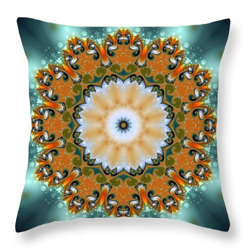Fractal Throw Pillow featuring the digital art Kaleidoscope Iv by Richard Ortolano