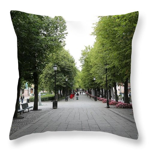 Oslo Throw Pillow featuring the photograph Karl Johans Gate by Carol Groenen