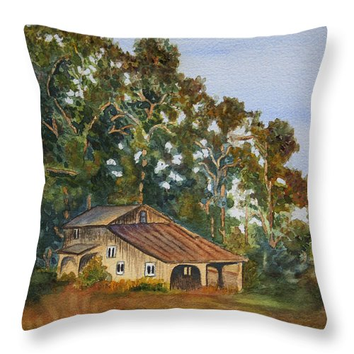 Barn Throw Pillow featuring the painting Kate's Barn by Sari Sauls